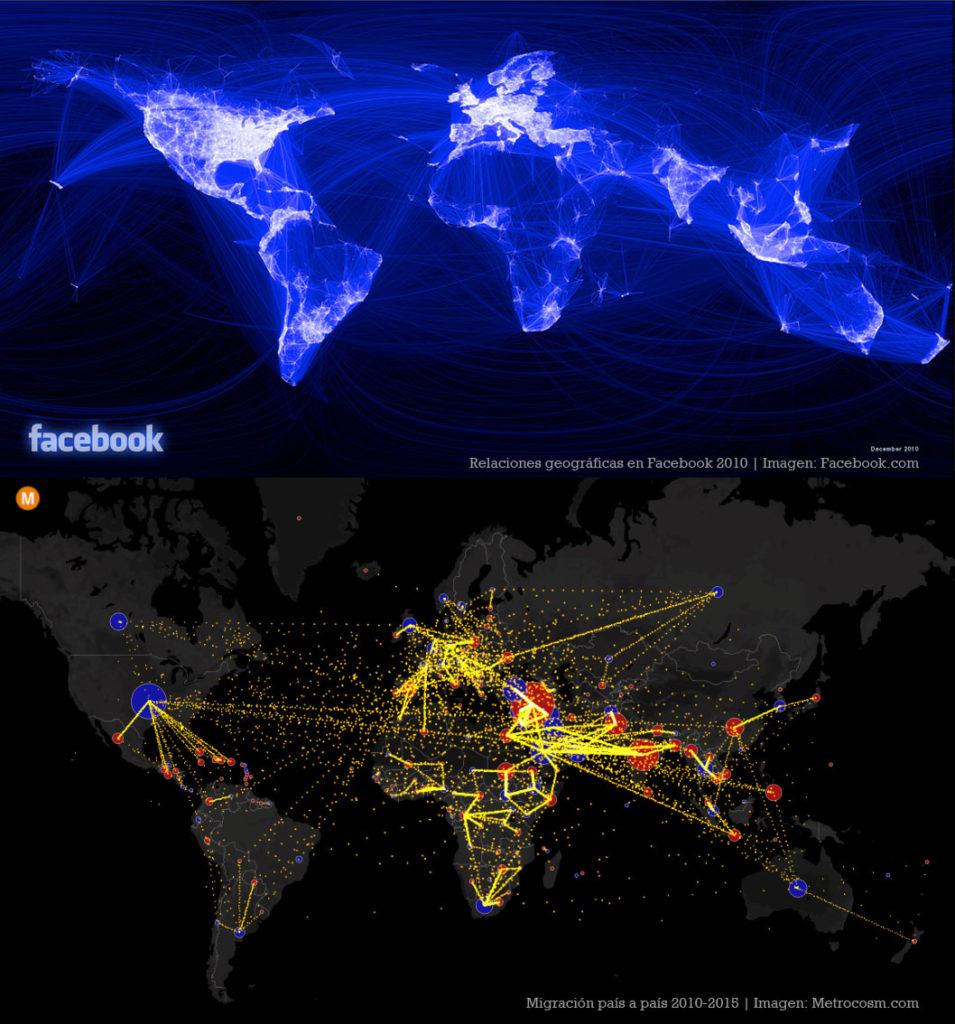 Relaciones geográficas establecidas en Facebook en 2010 (imagen: facebook.com) frente a la migración de personas de país a país entre 2010-2015 (imagen: Metrocosm.com)