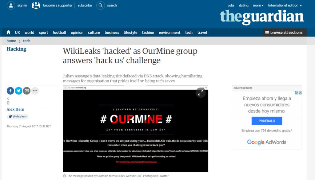 The Guardian Wikileaks OurMine Hacked