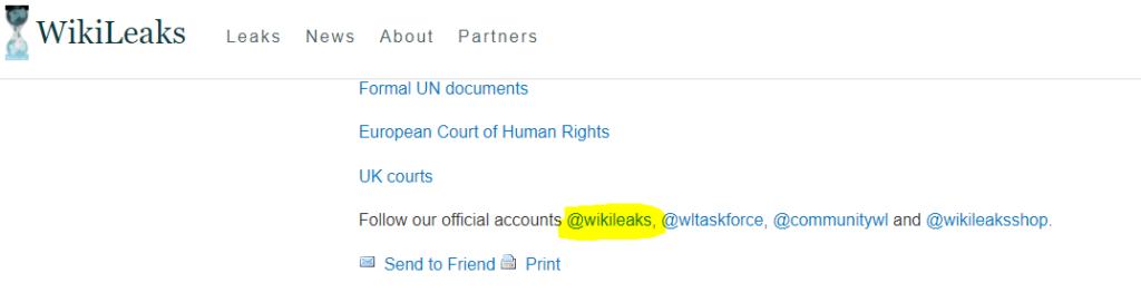 Wikileaks Twitter Account