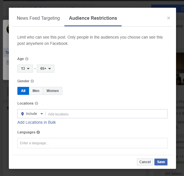 Facebook Audience Restriccions